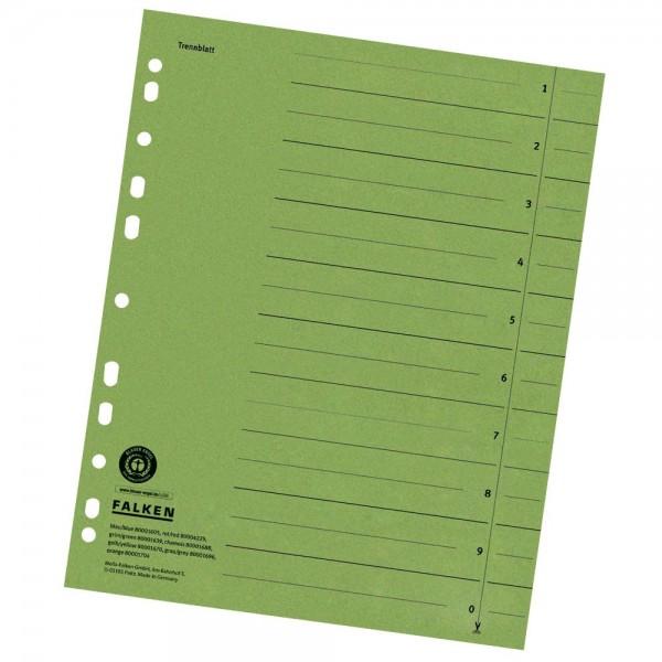 Trennblätter grün durchgefärbt Falken 230gr 100 St./Pack