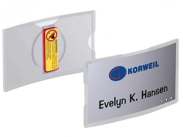 Namensschild 75x40mm (BxH) KONVEX Magnet transparent, 25 St./Pack