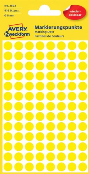 Etiketten 8mm wiederablösbar gelb 416 Etik./Pack