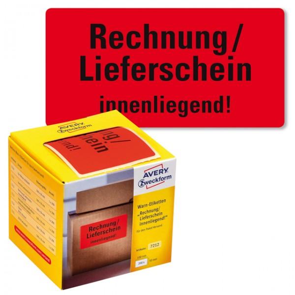 Warnetikett Aufdruck:Lieferschein innenliegend 100x50mm (BxH) 200 St./Pack , rot