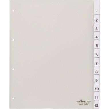 Register A4 1-12 blanko Überbreite transparent
