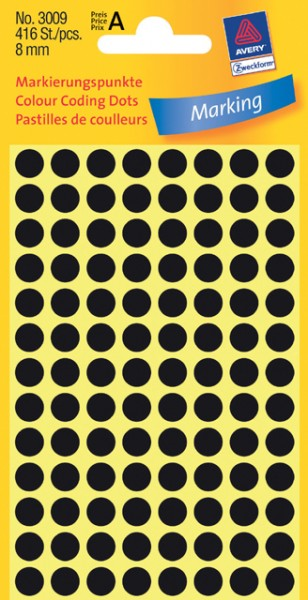 Etiketten 8mm schwarz 416 St./Pack Markierungspunkt