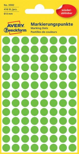 Etiketten 8mm wiederablösbar grün 416 Etik./Pack