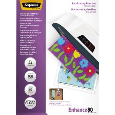 Laminierfolie A4 80mic Fellowes Enhance 80 5606114 216x303 mm (BxH),transparent glänzend 100 St./Pac