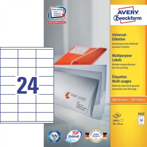 Etikett 70x35mm Universal weiß 100 Blatt / 2400 Etiketten/Pack
