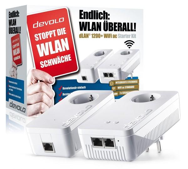 devolo dLAN 1200+ WiFi ac Starter Kit Powerline bis zu 1200 Mbit/s WLAN ac, 2,4 und 5 GHz