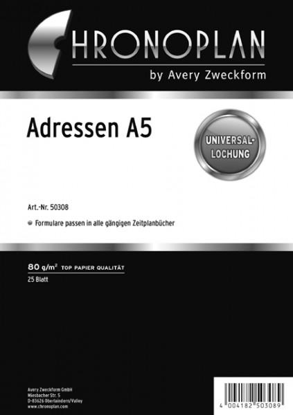 CHRONOPLAN ADRESSBLÄTTER A5