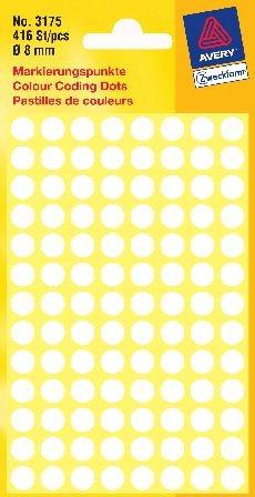 Etiketten 8mm weiss 416 St./Pack Markierungspunkt