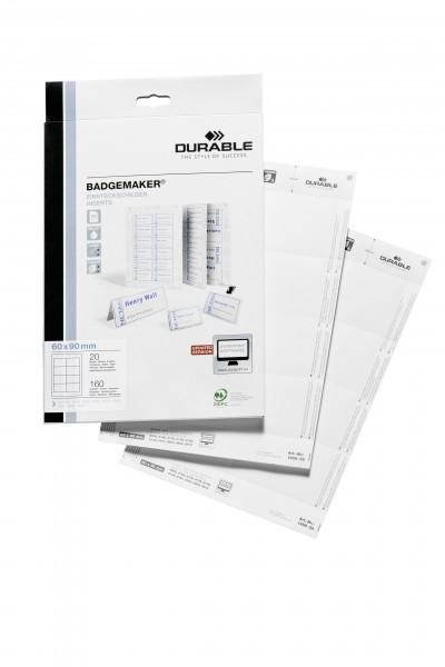 Einsteckschild Badgemaker 90x60mm weiß 160 St./Pack.,f.Namenschilder 8003, 8135
