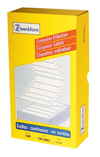 Etikett 139,7x99,2mm endlos 1bahnig weiß 1500 Etiketten / Computer-Etikett