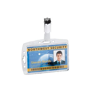 Namenschild Hartbox 54x85mm transparent mit Security Clip , 25 St./Pack