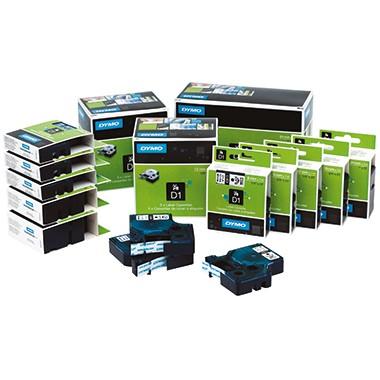 Bänder Dymo 45803 19mmx7m D1 schwarz/weiss UV-beständig, Kunststoff