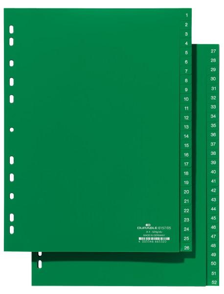Register A4 1-52 2 Abläufe Hartfolie grün