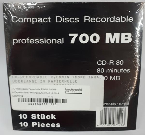 CD-Recordable Papierhülle R/80M. 700MB in Papierhülle/80 Min Packung Inhalt 10 Stück