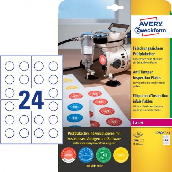 Etikett 30mm Ø Prüfplaketten fälschungssicher weiß 10 Bl./240 Etiketten,Polyester,witterungsbeständi