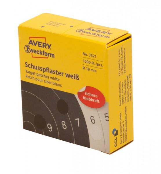 SCHUSSPFLASTER WEISS 19MM 1000STÜCK AUF DER ROLLE , 10 St./Pack