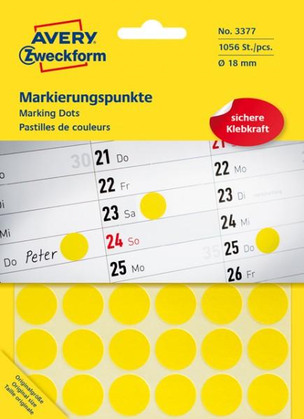 Etiketten 18mm gelb 22 Bl./1056 Etiketten Markierungspunkt , permanent