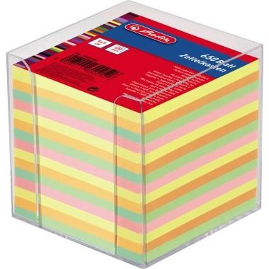 Notizzettelbox Herlitz 9x9x9cm transparent gefüllt mit 650 Bl. Papier mehrfarbig
