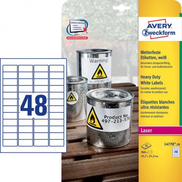 Etikett 45,7x21,2mm wetterfest Polyester weiß 20 Blatt / 960 Etiketten