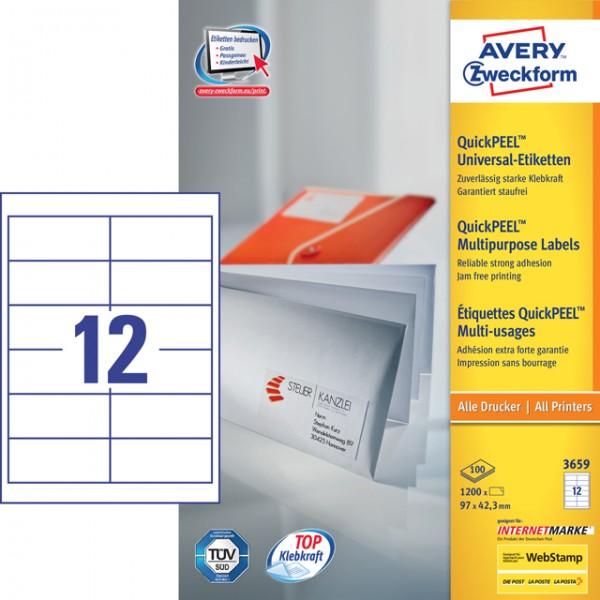 Etikett 97x42,3mm Universal QuickPEEL weiß 100 Bl./1200 Etiketten
