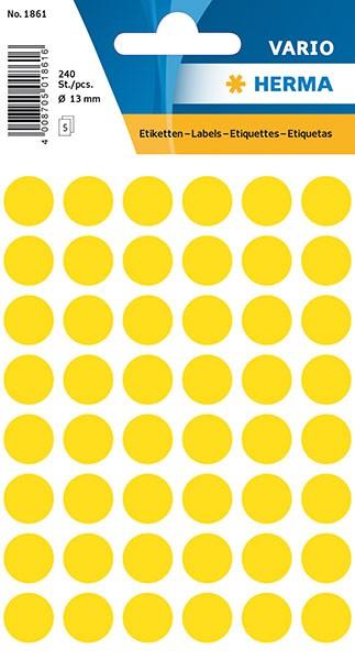 Etikett 12mm Farbpunkt gelb 240 St./Pack **Restposten,begrenzte Menge**