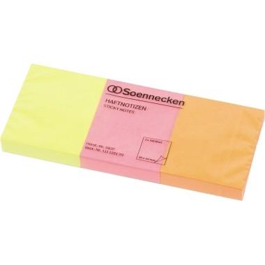 Haftnotiz 40x50mm neonfarben 3 Block/Pack Soennecken
