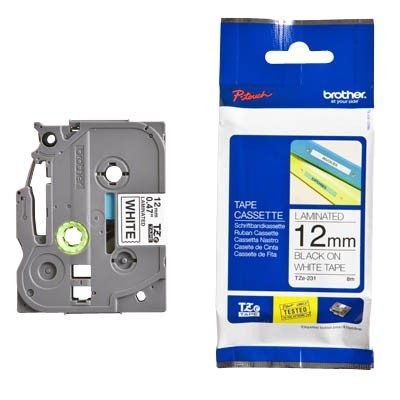 P-Touch Kassette TZE-231 Schwarz/weiss 12mm 300/310/340/350/540/550/200/220/1200/8M