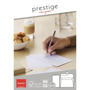 Briefhüllen C6 ELCO Prestige 200 g/m² hochweiß mit Haftklebung, 10 St./Pack
