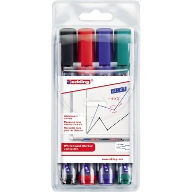 Edding Whiteboardmarker 360 4 St./Pack Strichstärke 1,5-3mm, rot, blau, grün, schwarz