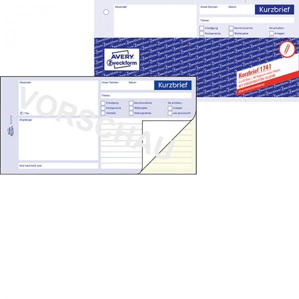 Zweckform Kurzbrief A4 (1/3) 2x 40 Blatt SD