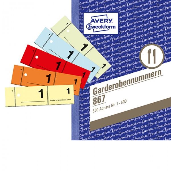 Zweckform Garderobenummern 1-500 100 Blatt **Restposten,begrenzte Menge**