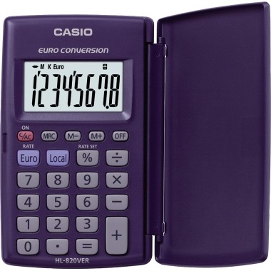 CASIO Taschenrechner HL-820VER blau Batterie , inkl. Schutzklappe