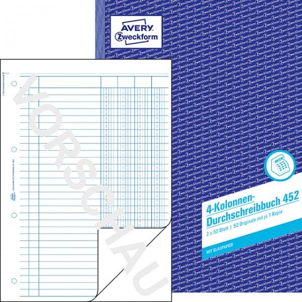 Zweckform 4 Kolonnen Durchschrebiebuch 2x50 Blatt **Restposten,begrenzte Menge**