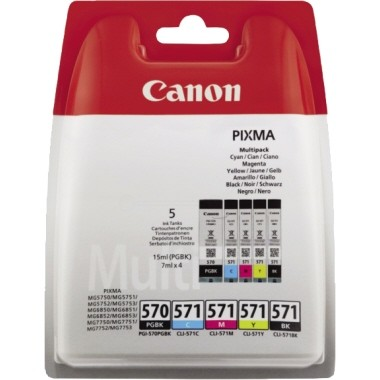 Canon Tintenpatrone PGI570 Multipack 5 St./Pack Farbe: schwarz, cyan, magenta, gelb