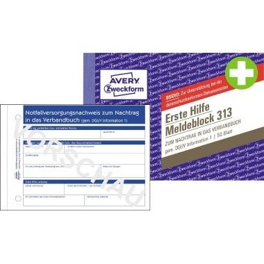 Zweckform Meldeblock Erste Hilfe A6 quer 50 Blatt mit Abheftlochung