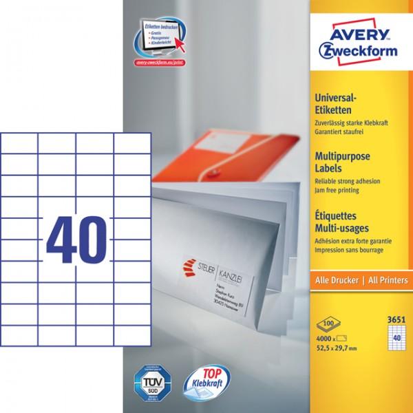 Etikett 52,5x29,7mm Universal weiß 100 Bl. / 4000 Etiketten