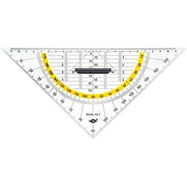 Geometriedreieck 25cm WEDO transparent mit Griff und farbig hinterlegten Winkelgraden