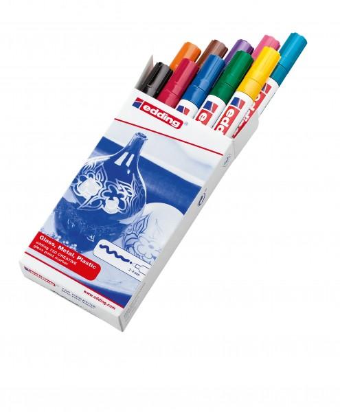 Edding Lackmalstift 750 permanent farbig sortiert Rundspitze , Strichstärke: 2-4 mm; 10 St./Pack