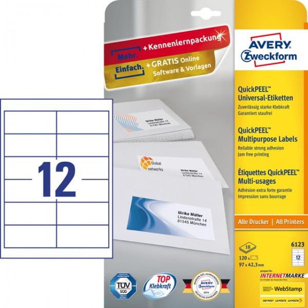 Etikett 97x42,3mm Universal weiß 120 Et./ 12 Blatt , QuickPEEL Abziehhilfe