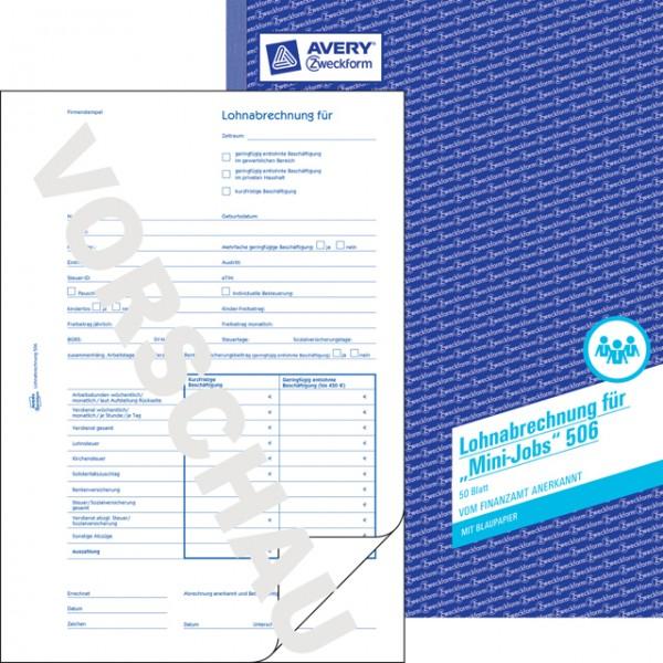 ZWECKFORM LOHNABRECHNUNG F.MINIJOBS A4 50 BLATT EIN DURCHSCHLAG / BLAUPAPIER