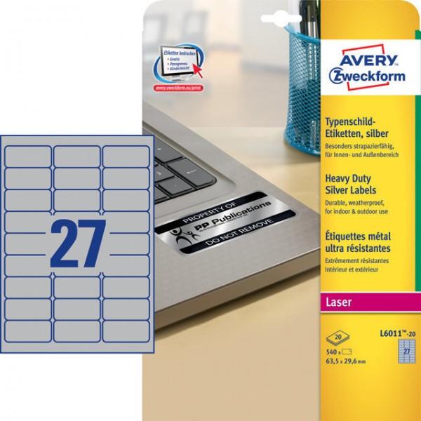 Etikett 63,5x29,6mm Typenschild silber 540 Etik./Pack, Polyesterfolie