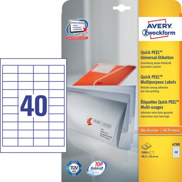 Etikett 48,5x25,4mm QuickPEEL Abziehhilfe weiß 25 Bl. + 5 Bl. / 1000 Etiketten + 200 Etiketten