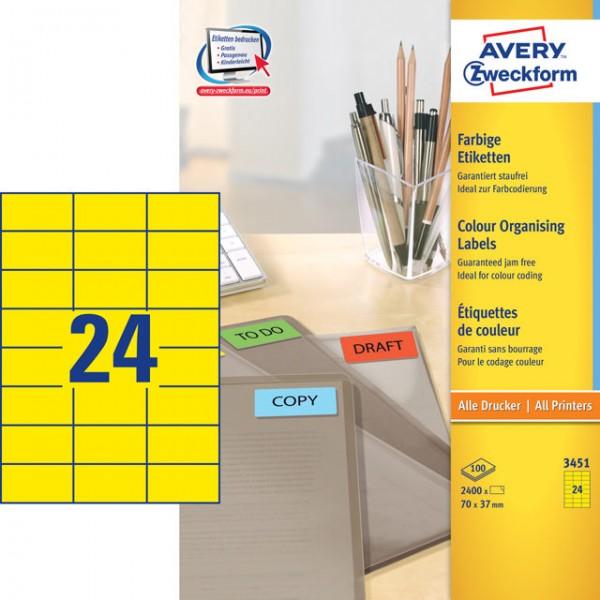 Etikett 70x37mm Universal gelb 100 Bl./ 2400 Etiketten
