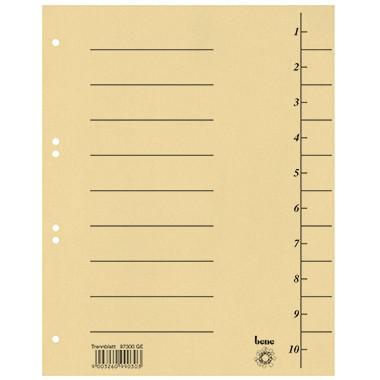 Trennblätter A4 bene 250 g/m² Karton gelb 10 Taben blanko , 100 St./ Pack