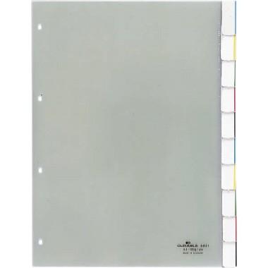Register A4 10-teilig blanko Hartfolie 10 Registerblätter , transparent