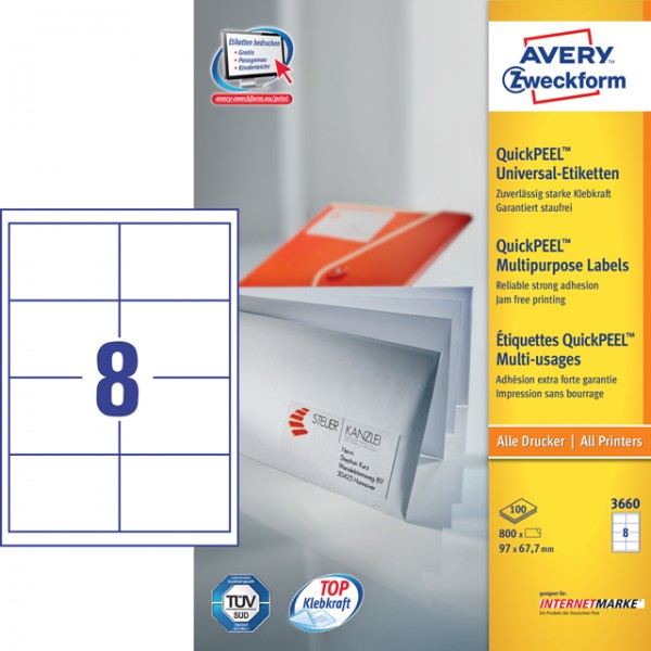 Etikett 97x67,7mm QuickPEEL Abziehhilfe weiß 100 Bl. / 800 Etiketten