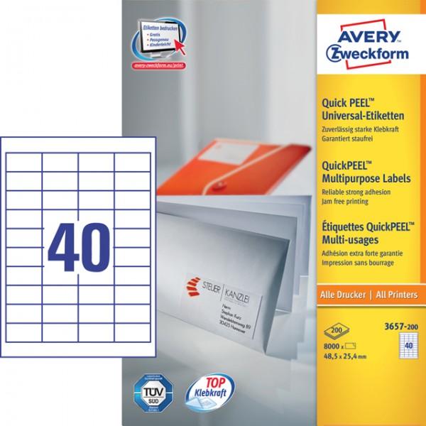 Etikett 48,5x25,4mm QuickPEEL Abziehhilfe weiß 200 Bl. / 8000 Etiketten
