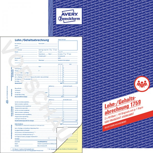 Zweckform Lohn/Gehaltsabrechnung A4 2x40 Blatt selbstdurchschreibend / Durchschlag gelb