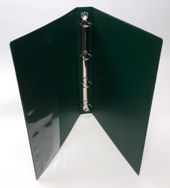 Ringbuch. A4 4-Ring Füllhöhe 30mm grün mit Innentasche / Reissmechanik