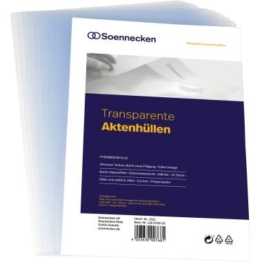 SICHTHÜLLEN A4 OBEN U. SEITLICH OFFEN 0,2MM TRANSPARENT DOKUMENTENECHT/GLÄNZEND/10 ST./PACK